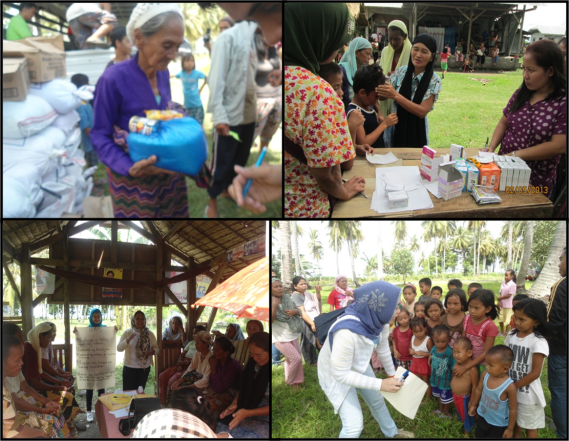 Photos: (Upper Left) Old woman receiving food items; (Upper Right) Distribution of medicines; (Lower Right) Lecture on Health and Sanitation; (Lower Left) Psychosocial activities.